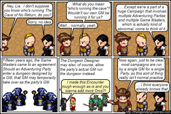 "Strip 336 - ""... Because this is a Webcomic with multiple GMs in it"""